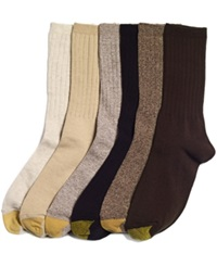Gold Toe Women's Ribbed Crew 6 Pack Socks Oatmeal