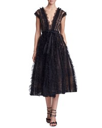 Marchesa Plunging V Neck Lace And Ruffled Cocktail Dress Black