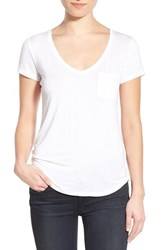 Paige Women's 'Lynnea' V Neck Pocket Tee Optic White