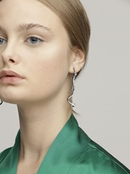 Federica Tosi Long Snake Brass And Crystal Earrings Silver