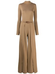 Ralph Lauren Collection Long Sleeve Flared Jumpsuit Brown