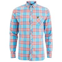 Lyle And Scott Vintage Men's Long Sleeve Check Shirt Caribbean Sea