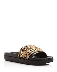 Kendall And Kylie Shiloh Chain Slide Sandals Black Gold