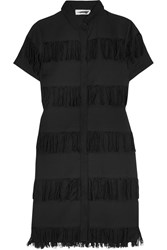 Prism Negril Fringed Cotton Gauze Shirt Dress Black
