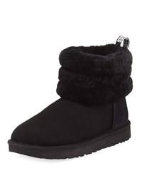 Ugg Fluff Mini Quilted Short Boots Black