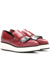 Mcq By Alexander Mcqueen Manor Fringed Leather Platform Loafers Red