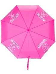 Moschino Logo Print Umbrella Pink