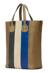 Ghurka Men's Broadway Leather Tote Bag Beige Military Blue Stripe