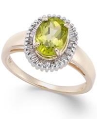 Macy's Peridot 1 1 2 Ct. T.W. And Diamond 1 3 Ct. T.W. Oval Ring In 14K Gold Green