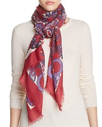 Bloomingdale's C By Ornamental Print Scarf 100 Exclusive Pomegranate