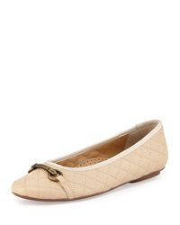 Neiman Marcus Suzy Quilted Nappa Flat Pudding