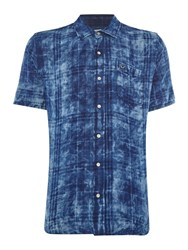 True Religion Slim Fit Washes Check Roll Up Short Sleeve Shirt Navy
