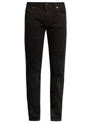 Saint Laurent Stained Effect Distressed Skinny Jeans Black