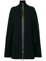 Salvatore Ferragamo Layered Zip Up Cape Black