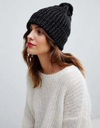 Oasis Ribbed Beanie Hat With Pom In Black