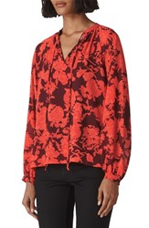 Whistles Tie Neck Floral Blouse Red Multi