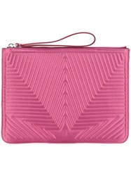 Golden Goose Deluxe Brand Satin Stitched Star Clutch Pink And Purple