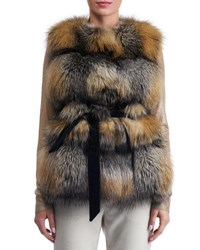 Gorski Belted Fox Fur Vest Brown Gray