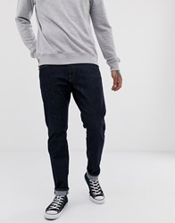 Selected Homme Straight Fit Organic Cotton Jeans In Dark Rinse Blue