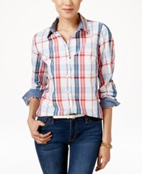 Tommy Hilfiger Plaid Button Front Shirt Classic White