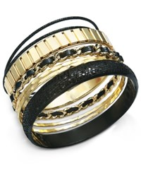 Thalia Sodi Gold Tone Faux Leather Multi Row Bangle Bracelet Only At Macy's