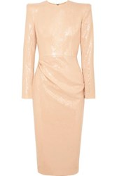 Alex Perry Corbet Gathered Sequined Crepe Midi Dress Beige