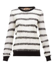 N 21 No. Chantilly Lace And Mohair Blend Sweater Black White