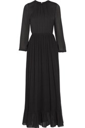 Adam By Adam Lippes Ruffled Plisse Crepe De Chine Gown Black
