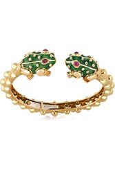 David Webb Baby Frog 18 Karat Gold Ruby And Enamel Bracelet