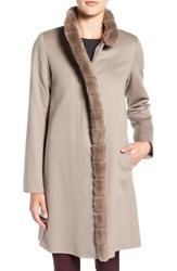 Fleurette Women's Wool Coat With Genuine Rex Rabbit Trim