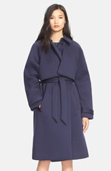 Tracy Reese Neoprene Trench Coat Navy Black