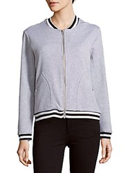 Alison Andrews Baseball Collar Bomber Jacket Light Grey