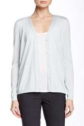 Lafayette 148 New York Long Sleeve V Neck Cashmere Silk Cardigan Blue