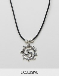 Reclaimed Vintage Inspired Necklace With Sun Pendant Silver