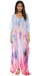 Lotta Stensson Feather Maxi Poncho Caftan Pastel Feather