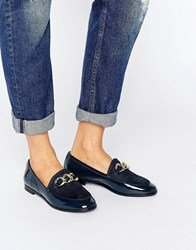London Rebel Flat Chain Loafer Shoe Navy Patent Micro Black
