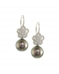 Belpearl 18K Tahitian Pearl And Diamond Flower Drop Earrings