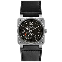 Bell And Ross Br0397 Bl Si Sca Men's Aviation Date Leather Strap Watch Black