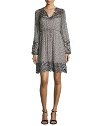 Elie Tahari Tally Long Sleeve Lace Trimmed Printed Dress Multi Red Pattern