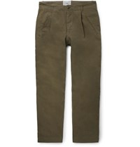 Folk Navy Assembly Tapered Pleated Cotton Canvas Trousers Green