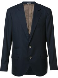 Brunello Cucinelli Two Buttons Notched Lapel Blazer Blue