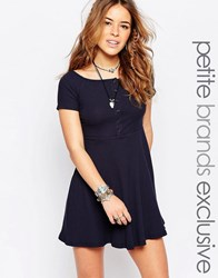 Glamorous Petite Off Shoulder Mini Skater Dress With Buttons Navy