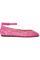Valentino Lace Ballet Flats Pink