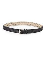 Steve Madden Perforated Lace Detail Belt Black