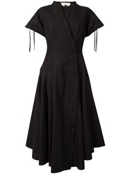 Aganovich Flared Shirt Dress Black