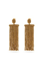 Oscar De La Renta Waterfall Tassel Drop Clip On Earrings Gold