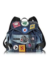 Dsquared2 Blue Washed Denim Backpack W Patches