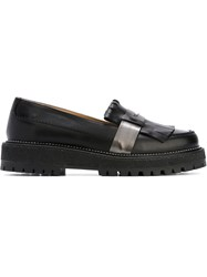 L'autre Chose Fringed Penny Loafers Black
