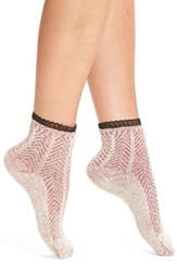 Peony And Moss Women's Lace Trim Ankle Socks Red Heather