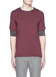 Attachment Pintuck Seam Double Layer T Shirt Red